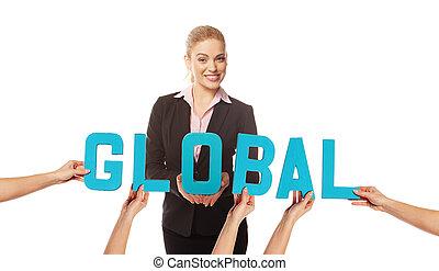 attraktiv, kvinna, med, den, ord, global