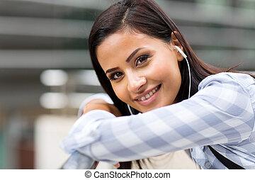 attraktiv, kvinnlig, högskola studerande