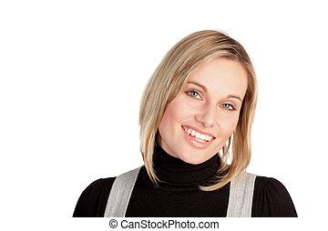 attraktiv, le, affärskvinna