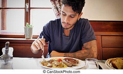 attraktiv, man, äta, ung, restaurang
