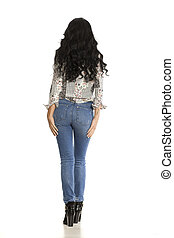 attraktiv, se tillbaka, vit, kvinna, jeans, framställ