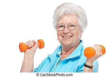 attraktiv, senior woman, hos, vård- klubba