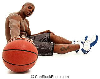 attraktiv, svart, 30, man, med, korg, ball., klippning,...