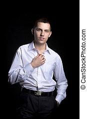 attraktiv, tillitsfull, ung man