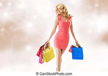 attraktiv, youg, kvinna, gör, den, inköp