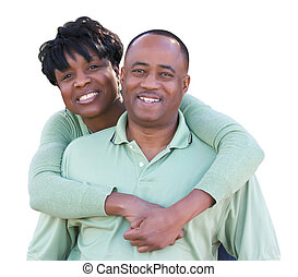 attraktive, afrikanische amerikanische paare, freigestellt, auf, a, weißes, hintergrund.