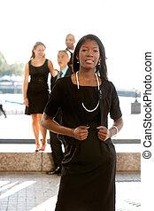 attraktive, afrikanischer amerikaner, unternehmerin