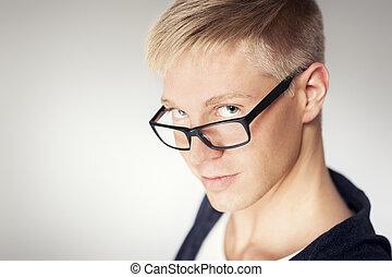 attraktive, auf, glasses., mann, tragen, schließen