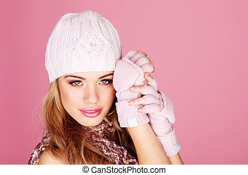attraktive, blond, in, winter, ausrüstung