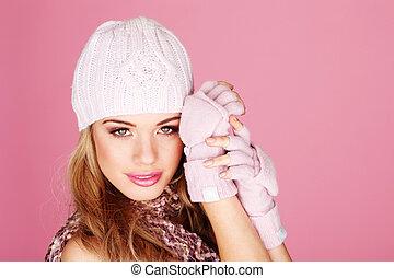 attraktive, blond, winter, ausrüstung