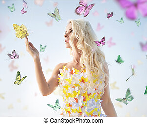 attraktive, delikat, blond, spielende , mit, vlinders