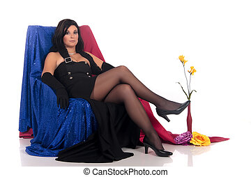 attraktive, frau, glanz, sofa