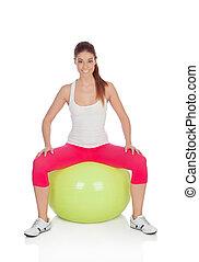 attraktive, frau, machen, pilates, mit, a, groß, grüne kugel