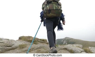 attraktive, gewinner, bergsteiger, frau rucksack,...