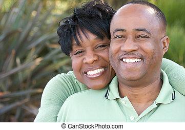 attraktive, glücklich, afrikanische amerikanische paare