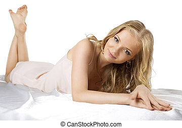 attraktive, junger, blond, frau, legen, in, damenunterwäsche