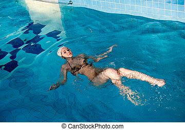 attraktive, m�dchen, mit, kappe, in, schwimmbad
