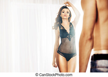 attraktive, paar, szene, romantische , schalfzimmer