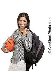 attraktive, schueler, mit, tasche, und, basketball ball