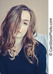 attraktive, teenager, modell