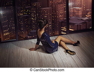 attraktive, woman, aussieht, an, der, panorama, von, stadt