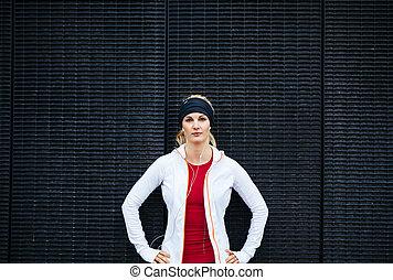 attraktive, woman, aussieht, sicher, in, sportkleidung
