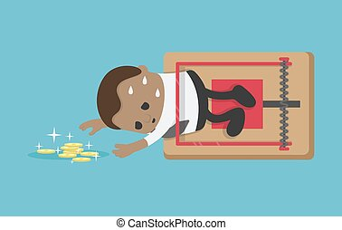attrapé, piège, hommes affaires, africaine, financier