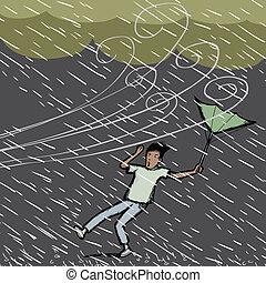 attrapé, pluie