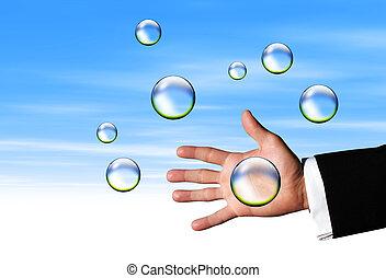 attraper, clair, bulles