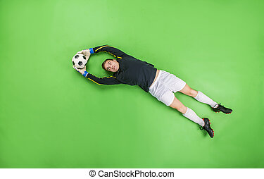 attraper, goal, balle