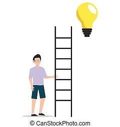 attraper, white., thought., isolé, caractère, plat, ampoule, lumière, jeune, dessin animé, illustration, nouveau, conception, échelle, créatif, homme idée, essayer
