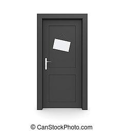attrapp, svart, dörr, stängd skylt