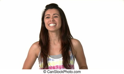 Cheerful asian woman applaud against white background
