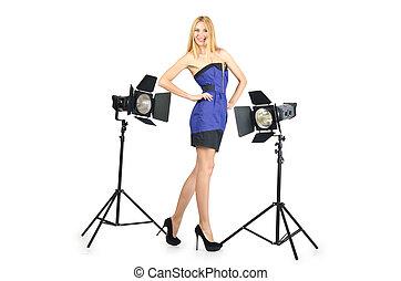 attrative, 女, 中に, 写真の スタジオ
