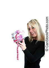 Attrative woman holding a small gift