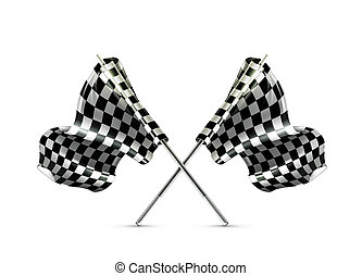 attraversato, checkered, bandiere, due