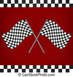 attraversato, da corsa, bandiere, checkered