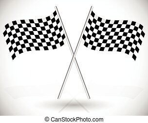 attraversato, da corsa, bandiere, checkered