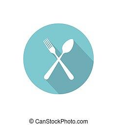 attraversato, forchetta, e, cucchiaio, isolato, vettore, appartamento, rotondo, icona, con, lungo, uggia