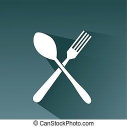 attraversato, forchetta, e, cucchiaio, vettore, icona