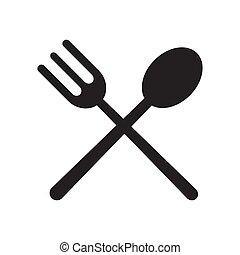 attraversato, forchetta, icona, cucchiaio