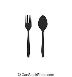 attraversato, forchetta, icone, fondo., nero, cucchiaio, cutlery., bianco