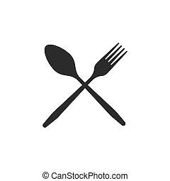 attraversato, forchetta, icone, nero, bianco, fondo., cucchiaio, cutlery.