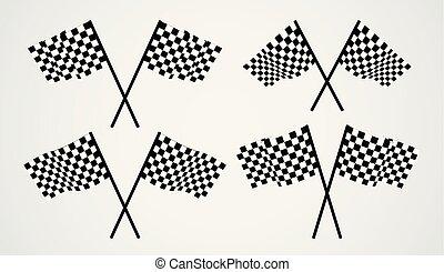 attraversato, vettore, bandiere, checkered