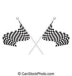attraversato, vettore, bandiere, due, checkered