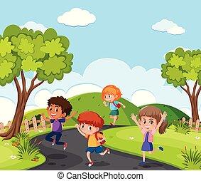 attraverso, correndo, parco, bambini