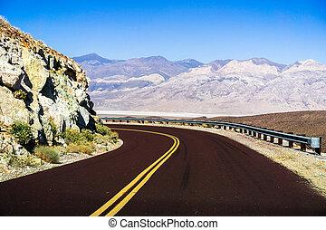 attraverso, deserto, california, mojave, autostrada