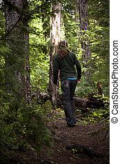 attraverso, donna, terreno boscoso, regione selvaggia, andando gita