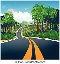 attraverso, giungla, strada