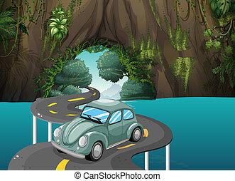 attraverso, passeggero, caverna, curva, strada